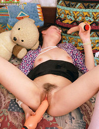 This hot teen naughtily plays with adult toys but still loves her teddy-bear