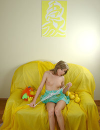 Good photos of naked blonde teen with average-sized breasts and a small lane of pubic hair